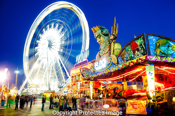 An evening scene taken at the Houston Livestock Show and Rodeo Carnival in Houston, Texas.