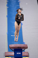 LOS ANGELES, CA - April 19, 2013:  Stanford's Melissa Chuang competes on vault during the NCAA Championships at UCLA.