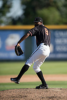 Modesto Nuts starting pitcher Reggie McClain (9) delivers a pitch to the plate during a California League game against the San Jose Giants at John Thurman Field on May 9, 2018 in Modesto, California. San Jose defeated Modesto 9-5. (Zachary Lucy/Four Seam Images)