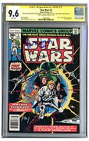 BNPS.co.uk (01202) 558833<br /> Pic: NateDSanders/BNPS<br /> <br /> A rare Star Wars comic signed by six stars of the first film has emerged for sale for £11,000. ($15,000)<br /> <br /> The first issue of the 1977 comic has been autographed by Mark Hamill, Harrison Ford, Carrie Fisher, Peter Mayhew, Anthony Daniels and Kenny Baker.<br /> <br /> It was produced by Marvel on the back of the huge success of Star Wars and carries an image of Luke Skywalker wielding a lightsabre.<br /> <br /> The signatures were acquired by a private collector many years ago who is now selling the comic with US-based auctioneers Nate D Sanders.