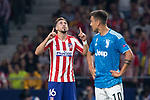 Hector Herrera of Atletico de Madrid celebrating after scoring a goal during the UEFA Champions League football match between Atletico de Madrid and Juventus FC played at the Wanda Metropolitano Stadium in Madrid, on September 18th 2019