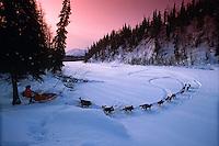 Bob Hickel drop into Happy River 1992 Iditarod SC AK winter scenic