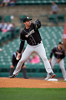 Charlotte Knights pitcher Zach Thompson (32) during an International League game against the Rochester Red Wings on June 16, 2019 at Frontier Field in Rochester, New York.  Rochester defeated Charlotte 11-5 in the first game of a doubleheader that was a continuation of a game postponed the day prior due to inclement weather.  (Mike Janes/Four Seam Images)