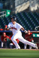 Jupiter Hammerheads shortstop Justin Bohn (10) at bat during a game against the Palm Beach Cardinals on August 13, 2016 at Roger Dean Stadium in Jupiter, Florida.  Jupiter defeated Palm Beach 6-2.  (Mike Janes/Four Seam Images)