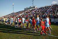 Sky Blue FC enters the field for pre-game introductions. The Western New York Flash defeated Sky Blue FC 4-1 during a Women's Professional Soccer (WPS) match at Yurcak Field in Piscataway, NJ, on July 30, 2011.