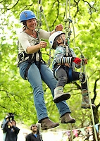 National Trust Wales invites visitors to go tree climbing at Dinefwr Park, Llandeilo, Wales, UK Wednesday 13 July 2016
