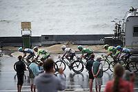 Team Etixx-Quickstep with Michal Kwiatkowski (POL/Etixx-Quickstep) & Tony Martin (DEU/Ettix-Quickstep) force the pace of a reduced leading peloton over the Brouwersdam <br /> <br /> stage 2: Utrecht - Neeltje Jans (166km)<br /> 2015 Tour de France