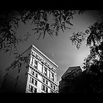 Conover or Amercian Building in Downtown Ohio, black and white