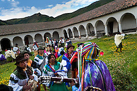 """Indians, wearing colorful costumes, dance and sing in a former monastery garden during the Inti Raymi festival in Pichincha province, Ecuador, 26 June 2010. Inti Raymi, """"Festival of the Sun"""" in Quechua language, is an ancient spiritual ceremony held in the Indian regions of the Andes, mainly in Ecuador and Peru. The lively celebration, set by the winter solstice, goes on for various days. The highland Indians, wearing beautiful costumes, dance, drink and sing with no rest. Colorful processions in honor of the God Inti (Sun) pass through the mountain villages giving thanks for the harvest and expressing their deep relation to the Mother Earth (Pachamama)."""
