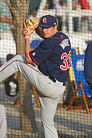 Alex White #36 of the Kinston Indians in the bullpen warming up before a game against the Myrtle Beach Pelicans on May 12, 2010 in Myrtle Beach, SC.