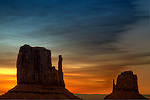 Sunrise at the Mittens in Monument Valley