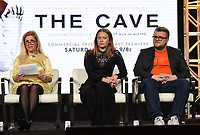"PASADENA, CA - JANUARY 17: (L-R) Producers Sigrid Dyekjaer, Kirstine Barfod, and Sound Designer Peter Albrechtsen attend the panel for ""The Cave,"" Storytelling With Courage during the National Geographic presentation at the 2020 TCA Winter Press Tour at the Langham Huntington on January 17, 2020 in Pasadena, California. (Photo by Frank Micelotta/National Geographic/PictureGroup)"