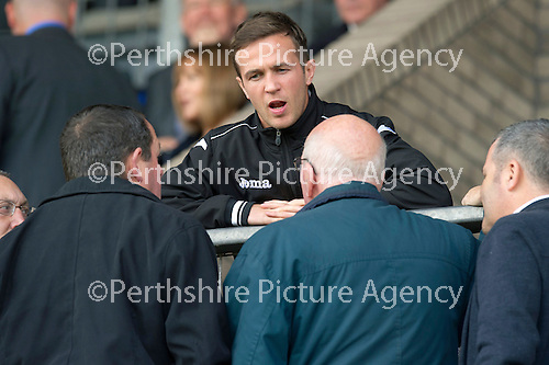 St Johnstone v Dundee United....01.09.12      SPL  .An injured Chris Millar talks with fans before kick off.Picture by Graeme Hart..Copyright Perthshire Picture Agency.Tel: 01738 623350  Mobile: 07990 594431