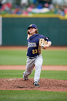 Burlington Bees relief pitcher Mike Kaelin (23) delivers a pitch during a game against the Great Lakes Loons on May 4, 2017 at Dow Diamond in Midland, Michigan.  Great Lakes defeated Burlington 2-1.  (Mike Janes/Four Seam Images)