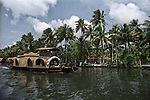 A houseboat on the backwaters of Alleppey, Kerala, India.