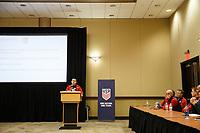 Bradenton, FL : James Bunce speaks to US Soccer athletes during a presentation in Bradenton, Fla., on January 4, 2018. (Photo by Casey Brooke Lawson)