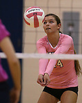 Marymount's Emileigh Rettig passes the ball during a college volleyball match against Shenandoah at Marymount University in Arlington, Vir., on Tuesday, Oct. 8, 2013.<br /> Photo by Cathleen Allison