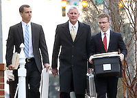CHARLOTTESVILLE, VA - FEBRUARY 17:  Dr. Michael Woodhouse, middle, a biomedical consultant, testified for the defense in the George Huguely trial. Huguely was charged in the May 2010 death of his girlfriend Yeardley Love. She was a member of the Virginia women's lacrosse team. Huguely pleaded not guilty to first-degree murder. (Credit Image: © Andrew Shurtleff
