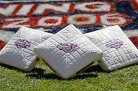 11 April 2006: Opening Day bases lie on the infield grass prior to the Nationals' Home Opener at RFK Stadium, in Washington, DC. The Mets defeated the Nationals 7-1 to maintain their early lead in the NL East...Mandatory Photo Credit: Ed Wolfstein Photo..