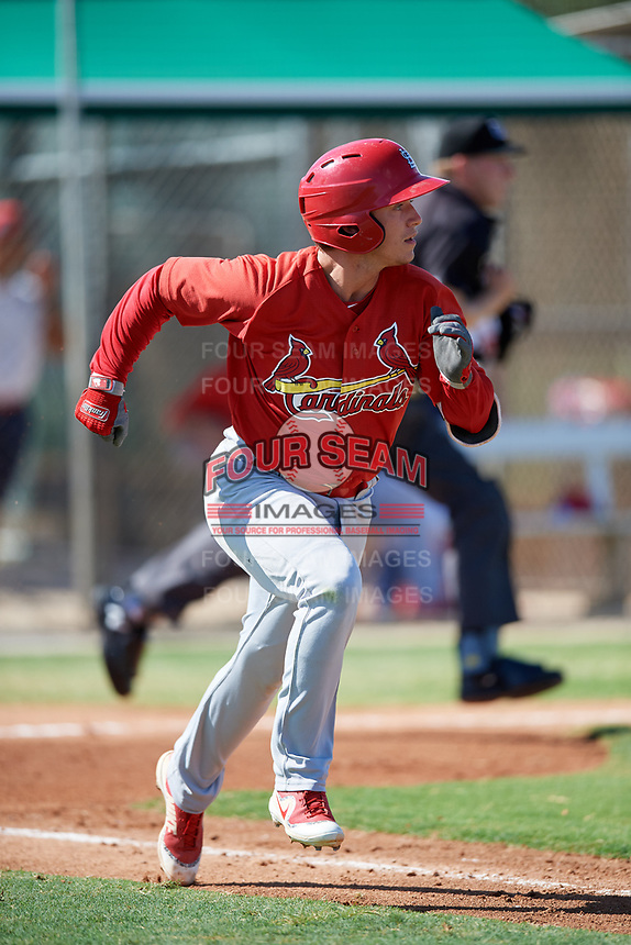 GCL Cardinals second baseman Josh Shaw (5) runs to first base during a game against the GCL Nationals on August 5, 2018 at Roger Dean Chevrolet Stadium in Jupiter, Florida.  GCL Cardinals defeated GCL Nationals 17-7.  (Mike Janes/Four Seam Images)