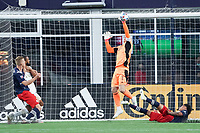 FOXBOROUGH, MA - MAY 1: Brad Guzan #1 of Atlanta United FC saves a shot on goal during a game between Atlanta United FC and New England Revolution at Gillette Stadium on May 1, 2021 in Foxborough, Massachusetts.
