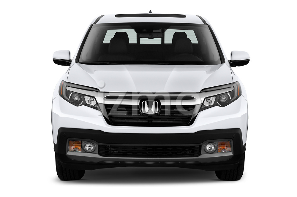 Car photography straight front view of a 2020 Honda Ridgeline RTL-E 4 Door Pick-up Front View