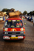 Banjul, The Gambia. Mazda taxi minibus in the market.