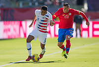 CARSON, CA - FEBRUARY 1: Reggie Cannon #2 of the United States moves with the ball as David Guzman #20 of Costa Rica persues during a game between Costa Rica and USMNT at Dignity Health Sports Park on February 1, 2020 in Carson, California.