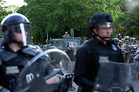 Police and military police line the street during a protest near the White House in Washington, D.C., U.S., on Monday, June 1, 2020, following the death of an unarmed black man at the hands of Minnesota police on May 25, 2020.  More than 200 active duty military police were deployed to Washington D.C. following three days of protests.  Credit: Stefani Reynolds / CNP/AdMedia