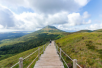 France, Puy de Dome, Volcans d'Auvergne Regional Natural Park, Chaine des Puys listed as World Heritage by UNESCO, Orcines, descent of the Puy Pariou by the staircase and view on the Puy de Dome // France, Puy-de-Dôme (63), Orcines, Parc Naturel Régional des Volcans d'Auvergne, Chaîne des Puys classée Patrimoine Mondial de l'UNESCO, descente du Puy Pariou par l'escalier et vue sur le Puy de Dôme