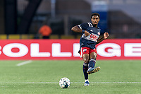 FOXBOROUGH, MA - AUGUST 21: Jon Bell #70 of New England Revolution II passes the ball during a game between Richmond Kickers and New England Revolution II at Gillette Stadium on August 21, 2020 in Foxborough, Massachusetts.