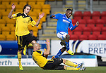 St Johnstone v Livingston.....30.11.13     Scottish Cup 4th Round<br /> Simon Mensing slides in on Nigel Hasselbaink<br /> Picture by Graeme Hart.<br /> Copyright Perthshire Picture Agency<br /> Tel: 01738 623350  Mobile: 07990 594431