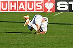 10.08.2019, Donaustadion, Ulm, GER, DFB Pokal, SSV Ulm 1846 Fussball vs 1. FC Heidenheim, <br /> DFL REGULATIONS PROHIBIT ANY USE OF PHOTOGRAPHS AS IMAGE SEQUENCES AND/OR QUASI-VIDEO, <br /> im Bild Ardian Morina (Ulm, #10) mit einer unsaften Landung<br /> <br /> Foto © nordphoto / Hafner