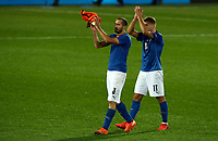 Italy's Giorgio Chiellini, left, and Ciro Immobile applaud at the end of the UEFA Nations League football match between Italy and Netherlands at Bergamo's Atleti Azzurri d'Italia stadium, October 14, 2020.<br /> UPDATE IMAGES PRESS/Isabella Bonotto