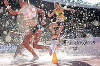 4th July 2021; Stockholm Olympic Stadium, Stockholm, Sweden; Diamond League Grand Prix Athletics, Bauhaus Gala; Gesa Krause makes a splash in the 3000m steeplechase