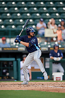 Charlotte Stone Crabs Zach Rutherford (15) at bat during a Florida State League game against the Bradenton Marauders on April 10, 2019 at LECOM Park in Bradenton, Florida.  Bradenton defeated Charlotte 2-1.  (Mike Janes/Four Seam Images)