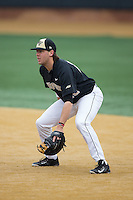 Wake Forest Demon Deacons first baseman Will Craig (22) on defense against the Towson Tigers at Wake Forest Baseball Park on March 1, 2015 in Winston-Salem, North Carolina.  The Demon Deacons defeated the Tigers 15-8.  (Brian Westerholt/Four Seam Images)