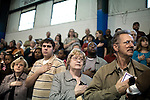 December 13, 2008. Erwin, North Carolina.. Family members join in the national anthem.. A deployment ceremony was held at Cape Fear Christian Academy for B Company 230th Brigade Support Battalion headquartered in Dunn, NC.. The unit is part of the North Carolina National Guard's 30th Heavy Brigade Combat Team, which has 4000 soldiers  deploying to Iraq in April after training. The 30th was last deployed to Iraq in 2003-2005.