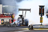 Aug. 31, 2013; Clermont, IN, USA: NHRA top fuel dragster driver J.R. Todd during qualifying for the US Nationals at Lucas Oil Raceway. Mandatory Credit: Mark J. Rebilas-