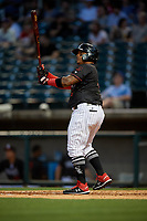 Birmingham Barons Yermin Mercedes (6) hits a home run during a Southern League game against the Chattanooga Lookouts on May 2, 2019 at Regions Field in Birmingham, Alabama.  Birmingham defeated Chattanooga 4-2.  (Mike Janes/Four Seam Images)