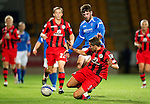 St Johnstone v St Mirren...20.09.11   Scottish Communities League Cup Third Round.Cillian Sheridan is tackled by Lee Mair.Picture by Graeme Hart..Copyright Perthshire Picture Agency.Tel: 01738 623350  Mobile: 07990 594431