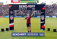 EAST HARTFORD, CT - JULY 5: Megan Rapinoe #15 of the USWNT poses in front of the crowd during a game between Mexico and USWNT at Rentschler Field on July 5, 2021 in East Hartford, Connecticut.