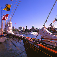 Victoria, BC, Vancouver Island, British Columbia, Canada - the Heritage Tall Ship Robertson II docked in the Inner Harbour (the ship ran aground off Saturna Island in 2007)