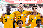 Awer Mabil of Australia (L), Tom Rogic of Australia (C) and Robbie Kruse of Australia (R) line up and pose for a photo prior to the AFC Asian Cup UAE 2019 Group B match between Australia (AUS) and Jordan (JOR) at Hazza Bin Zayed Stadium on 06 January 2019 in Al Ain, United Arab Emirates. Photo by Marcio Rodrigo Machado / Power Sport Images