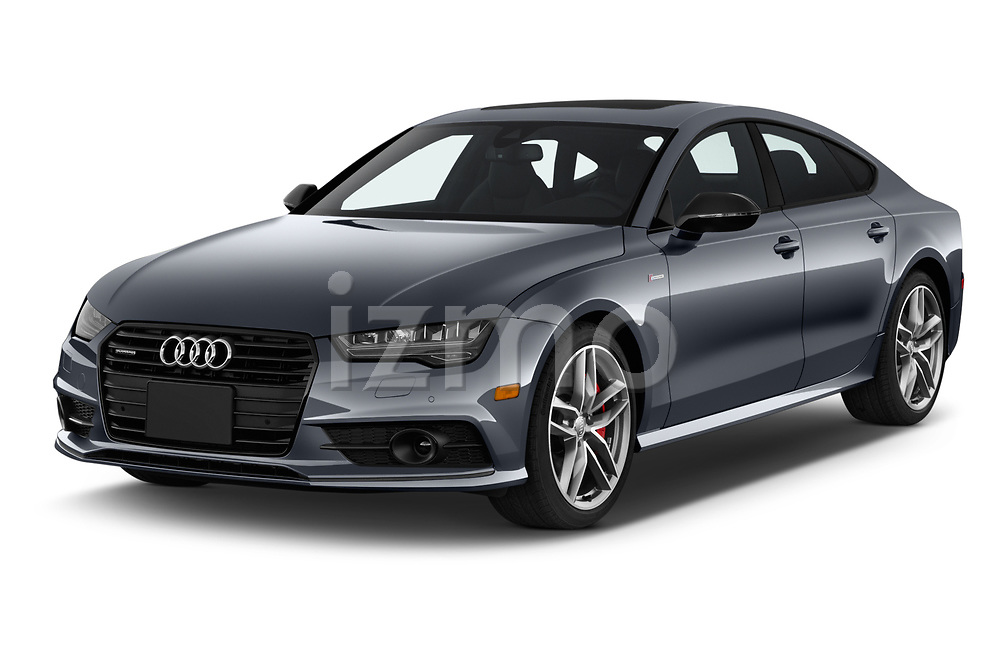 2018 Audi A7 Premium Plus 5 Door Hatchback angular front stock photos of front three quarter view