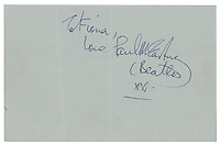 BNPS.co.uk (01202) 558833. <br /> Pic: RRAuction/BNPS<br /> <br /> Pictured: The signatures were for his daughter so Paul McCartney wrote 'to Fiona, love Paul McCartney xx', while the others signed their names.<br /> <br /> A set of Beatles signatures which were acquired at the Royal Variety Performance have emerged for sale for £6,000. ($8,000)<br /> <br /> The Fab Four played four songs at the 1963 show held at the Prince of Wales Theatre in London.<br /> <br /> After they left the stage, they autographed two sheets of paper for the actor Gerald James, who also performed that night.