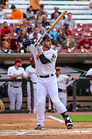 Milwaukee Brewers outfielder Ryan Braun (1) at bat during a rehab appearance with the Wisconsin Timber Rattlers in game one of a Midwest League doubleheader against the Kane County Cougars on June 23, 2017 at Fox Cities Stadium in Appleton, Wisconsin.  Kane County defeated Wisconsin 4-3. (Brad Krause/Four Seam Images)