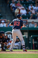 Atlanta Braves left fielder Greyson Jenista (83) at bat during a Grapefruit League Spring Training game against the Detroit Tigers on March 2, 2019 at Publix Field at Joker Marchant Stadium in Lakeland, Florida.  Tigers defeated the Braves 7-4.  (Mike Janes/Four Seam Images)