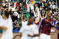 LA Galaxy fans rejoice after a scored goal. LA Galaxy defeated the Colorado Rapids 3-2 at Home Depot Center stadium in Carson, California on Sunday October 12, 2008. Photo by Michael Janosz/isiphotos.com