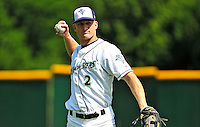 15 July 2010: Vermont Lake Monsters' infielder Justin Miller warms up prior to a game against the Aberdeen IronBirds at Centennial Field in Burlington, Vermont. The Lake Monsters rallied in the bottom of the 9th inning to defeat the IronBirds 7-6 notching their league leading 20th win of the 2010 NY Penn League season. Mandatory Credit: Ed Wolfstein Photo